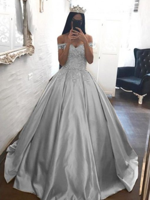 Ball Gown Off-The-Shoulder Floor-Length Appliques Quinceanera Dress 2019