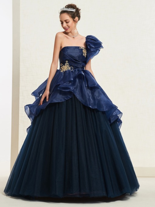 Appliques One Shoulder Ball Gown Floor-Length Quinceanera Dress