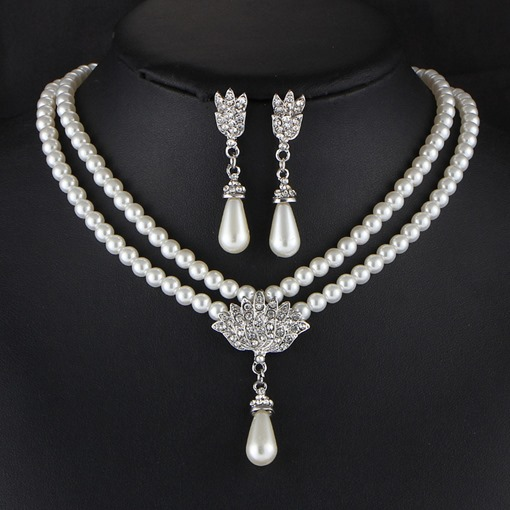 Water Drop Shape Pearl Earrings Necklace Party Jewelry Sets