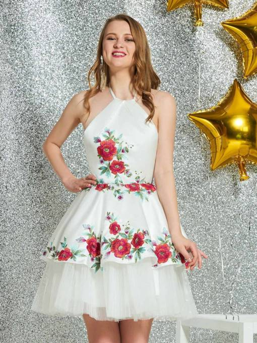 Mini A-Line Halter Appliques Homecoming Dress 2019