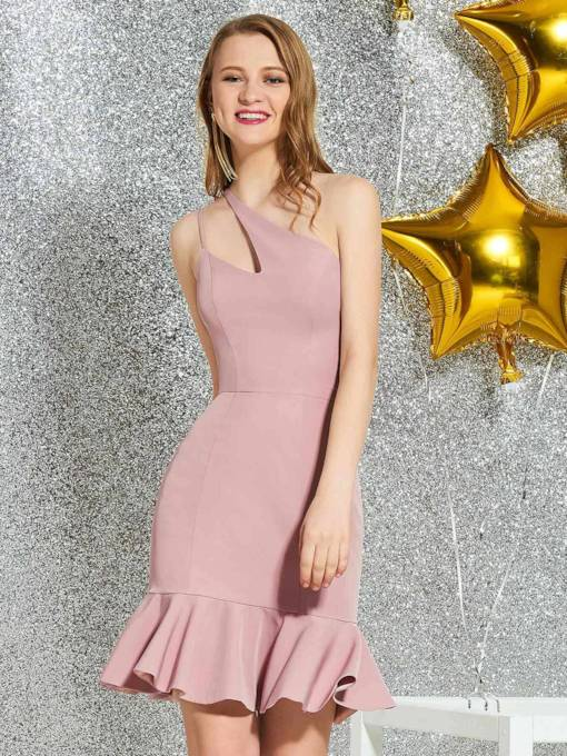 Trumpet Sleeveless One Shoulder Knee-Length Homecoming Dress 2019