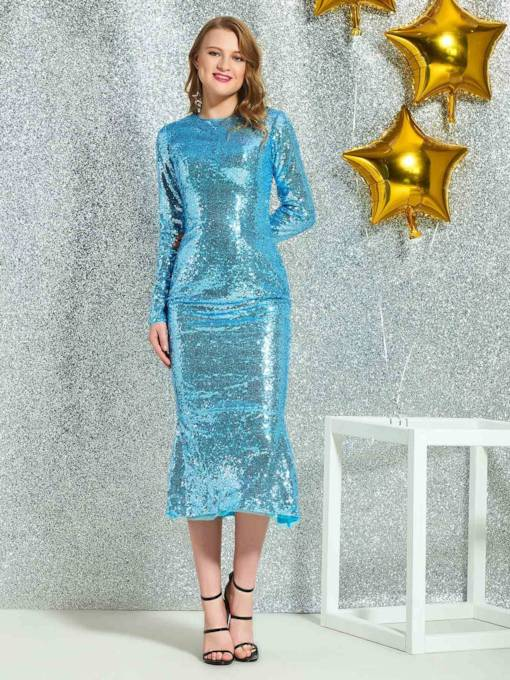 Reflective Dress Sequins Sheath Tea-Length Scoop Cocktail Dress 2019