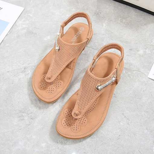 Elastic Band Thong Flat Sandals