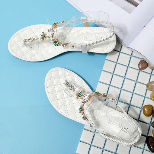 Elastic Band Wedge Heel Thong Rhinestone Flat Sandals