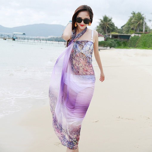 Long Shawl Summer Gradient Chiffon Sunscreen Scarf