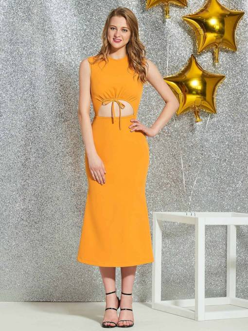 Scoop Tea-Length Sleeveless Sheath Homecoming Dress 2019