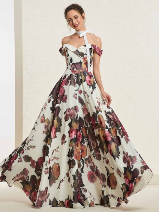 Floor-Length Printed Sleeveless A-Line Prom Dress 2019