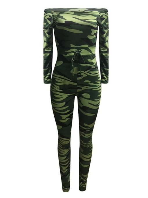 Full Length Print Sexy Camouflage Pencil Pants Women's Jumpsuit