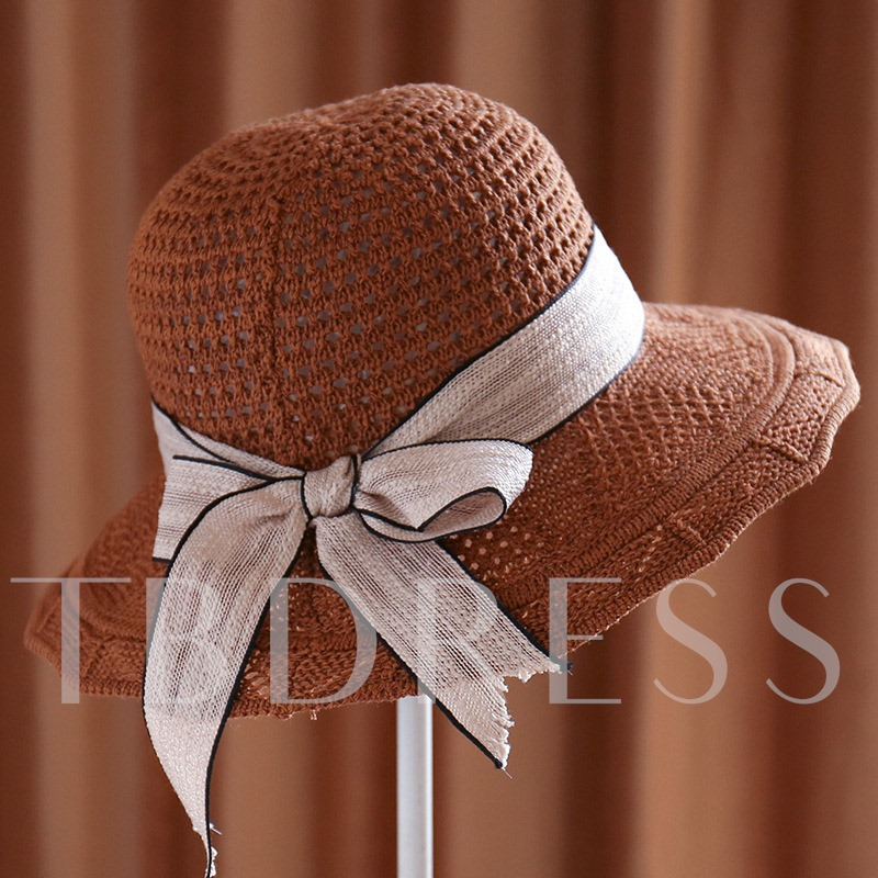 Handmade Bowknot Lace-Up Summer Straw Hat