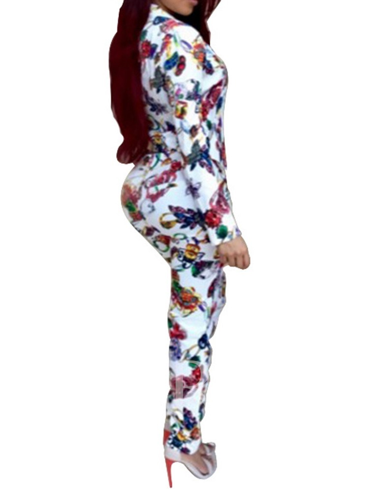 Casual Print Pants Floral V-Neck Women's Two Piece Sets