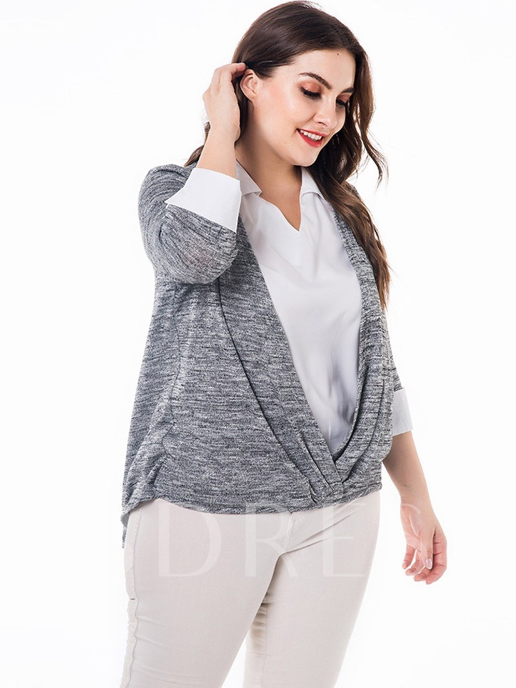 Double-Layer Color Block Asymmetric Plus Size Women's Blouse