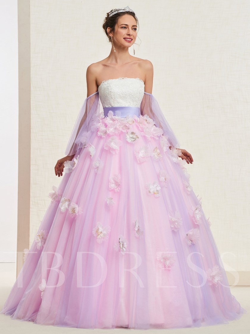 Long Sleeves Ball Gown Floor-Length Flowers Quinceanera Dress 2019