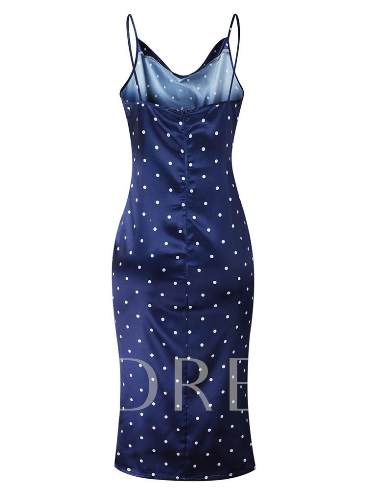 Print Sleeveless Bodycon Polka Dots Women's Sexy Dress