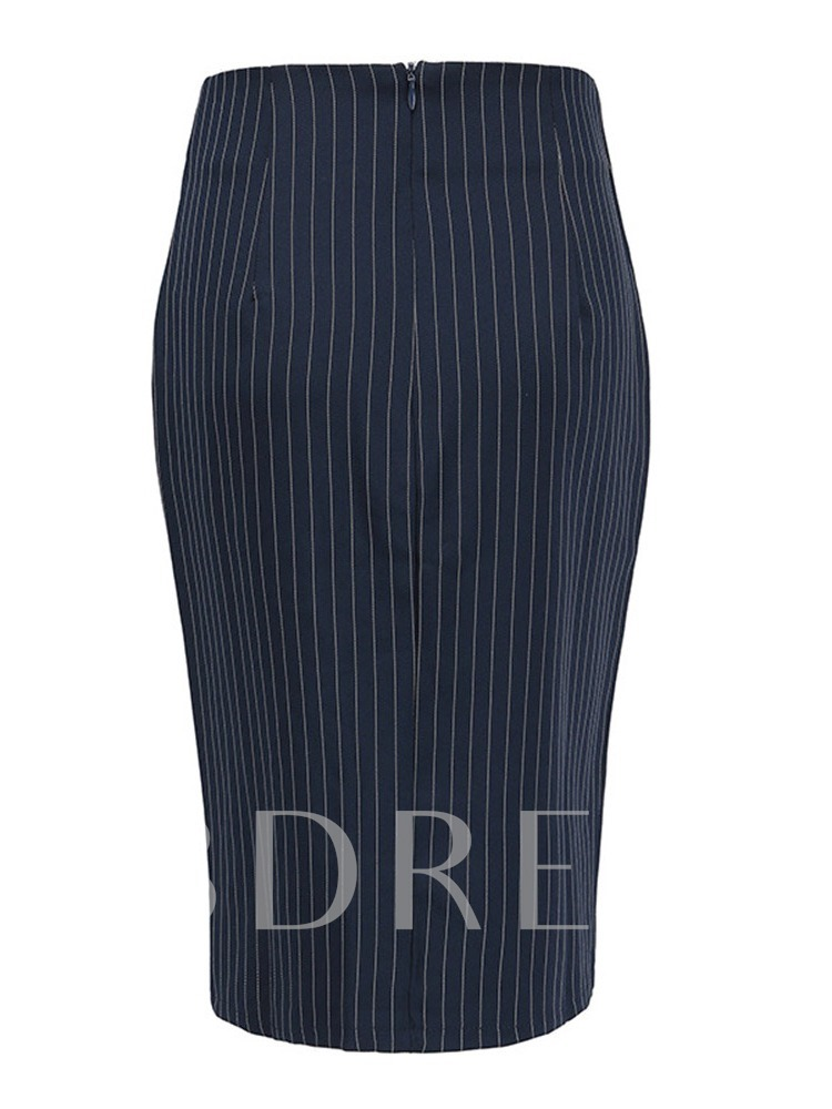Stripe Bodycon Knee-Length Button High-Waist Women's Skirt