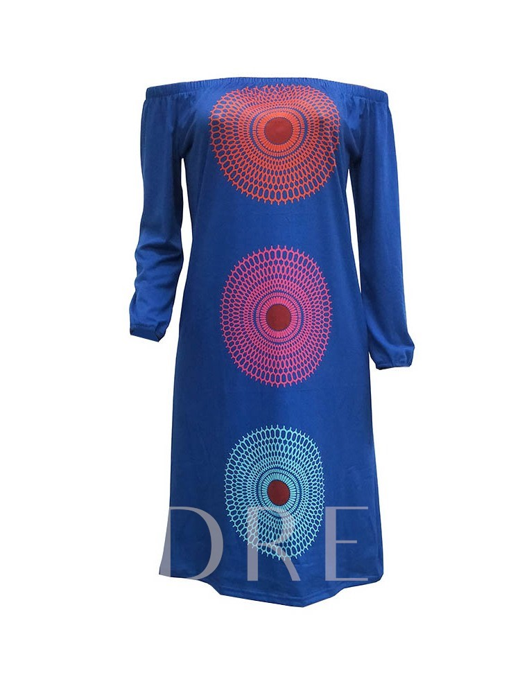 Long Sleeve Print Fall Color Block Women's Day Dress
