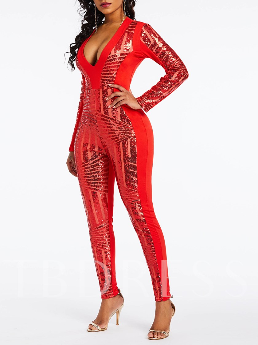 Full Length Sequins Sexy Pencil Pants Women's Jumpsuit