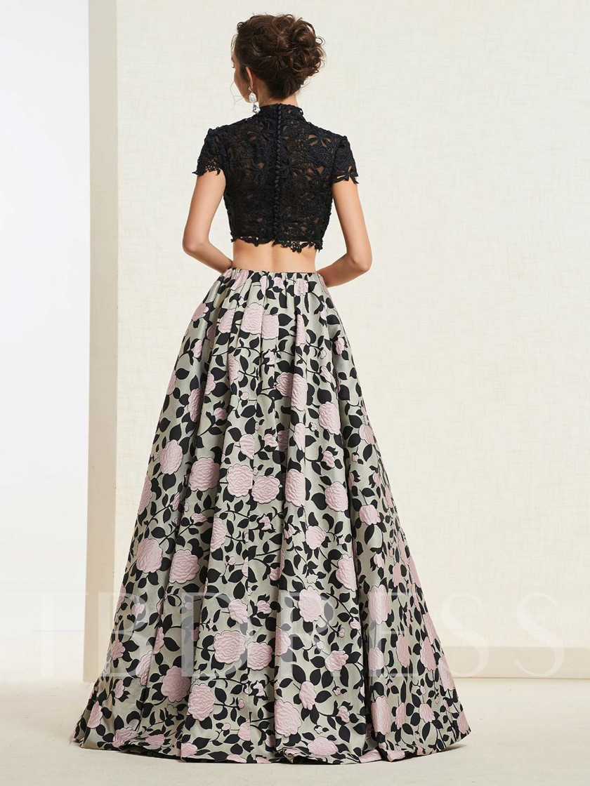 High Neck A-Line Cap Sleeves Lace Prom Dress 2019