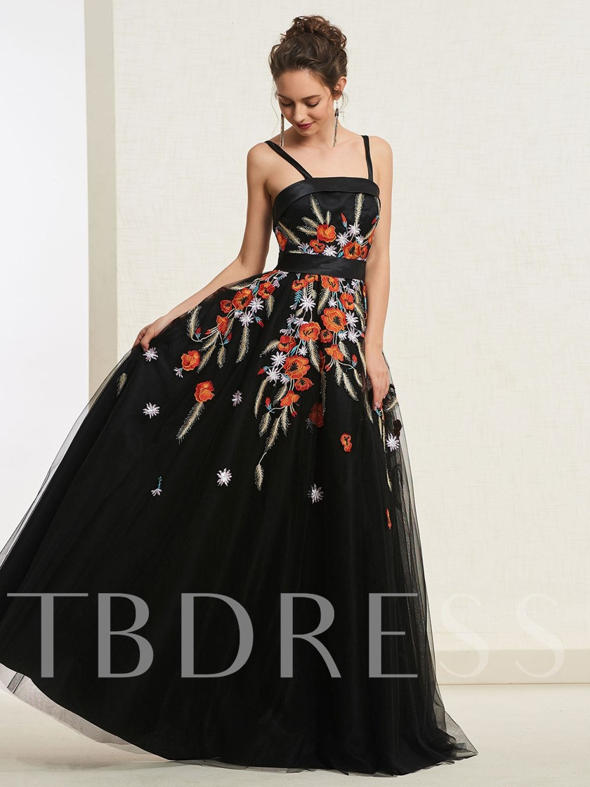 Floor-Length Spaghetti Straps A-Line Sleeveless Prom Dress 2019