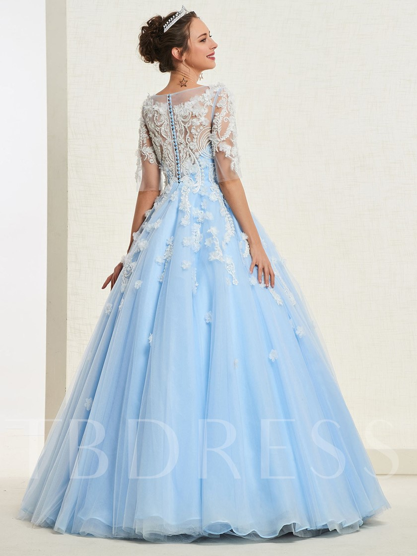3D Floral Appliques Beading Half Sleeves Quinceanera Dress 2019