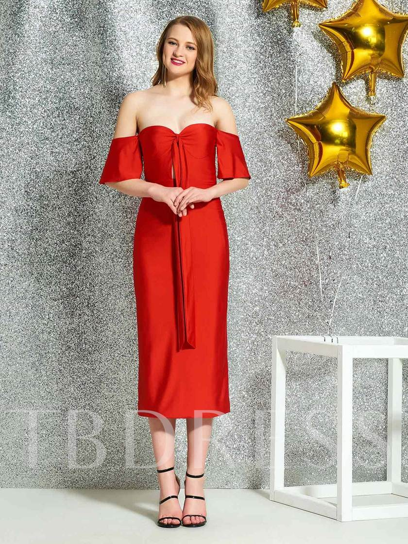 Pick-Ups Sheath Tea-Length Off-The-Shoulder Cocktail Dress