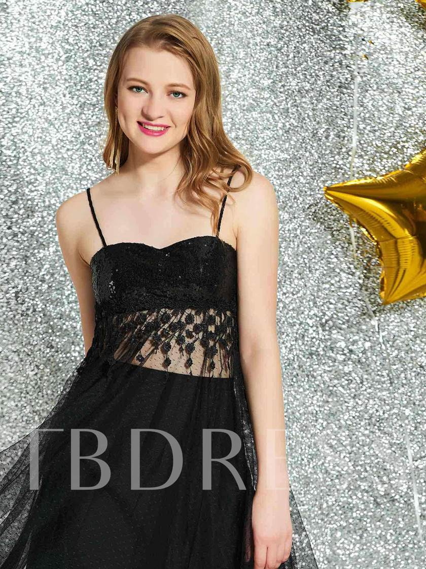 Spaghetti Straps Lace A-Line Black Homecoming Dress 2019