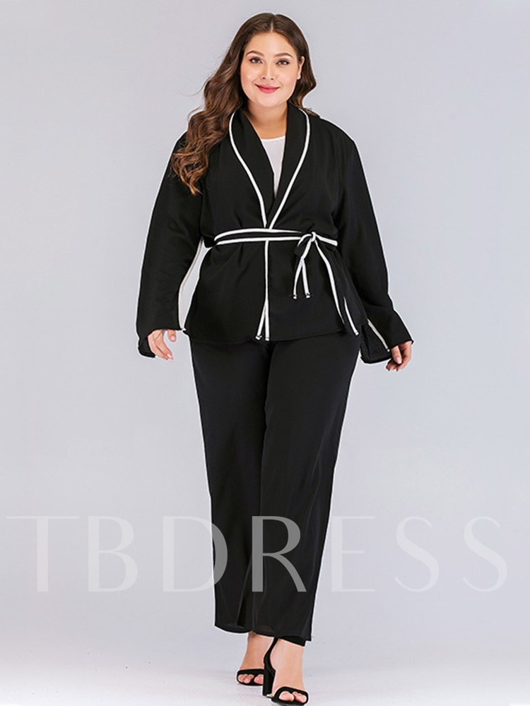 Lace-Up Shawl Collar Plus Size Women's Casual Blazer