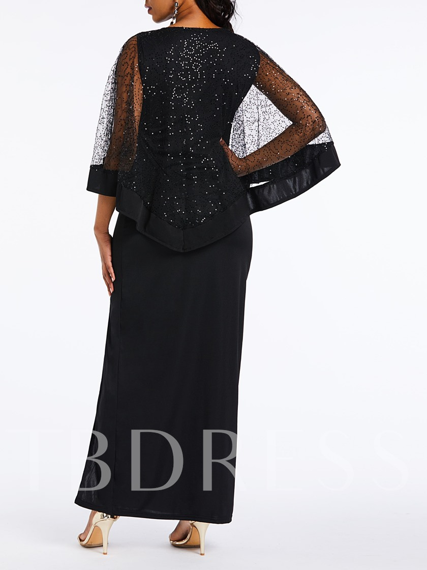 Round Neck Patchwork Elegant Women's Long Sleeve Dress