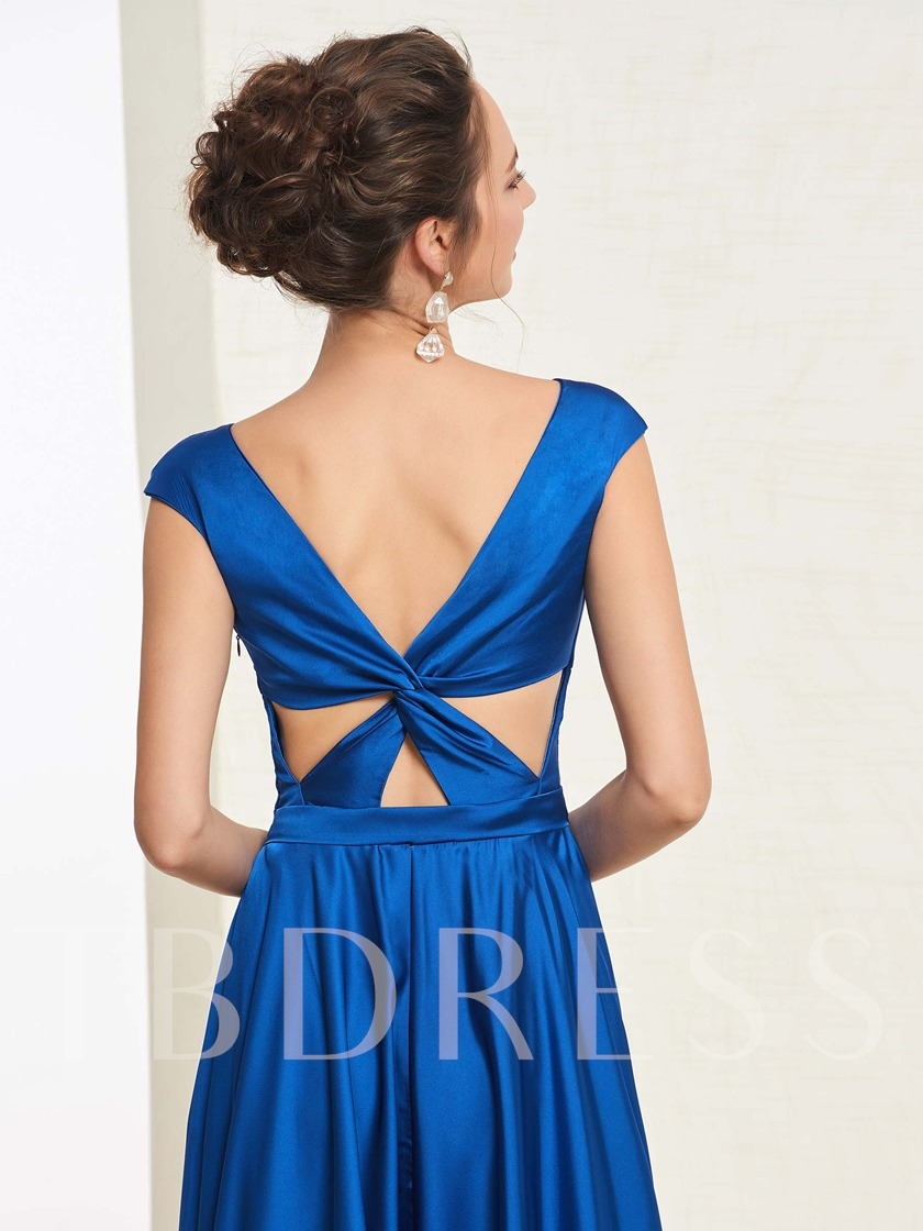 Floor-Length Cap Sleeves V-Neck A-Line Prom Dress 2019