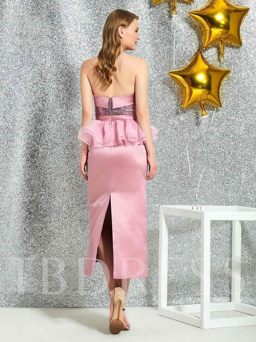 Ankle-Length Sheath Ruched Sleeveless Cocktail Dress 2019