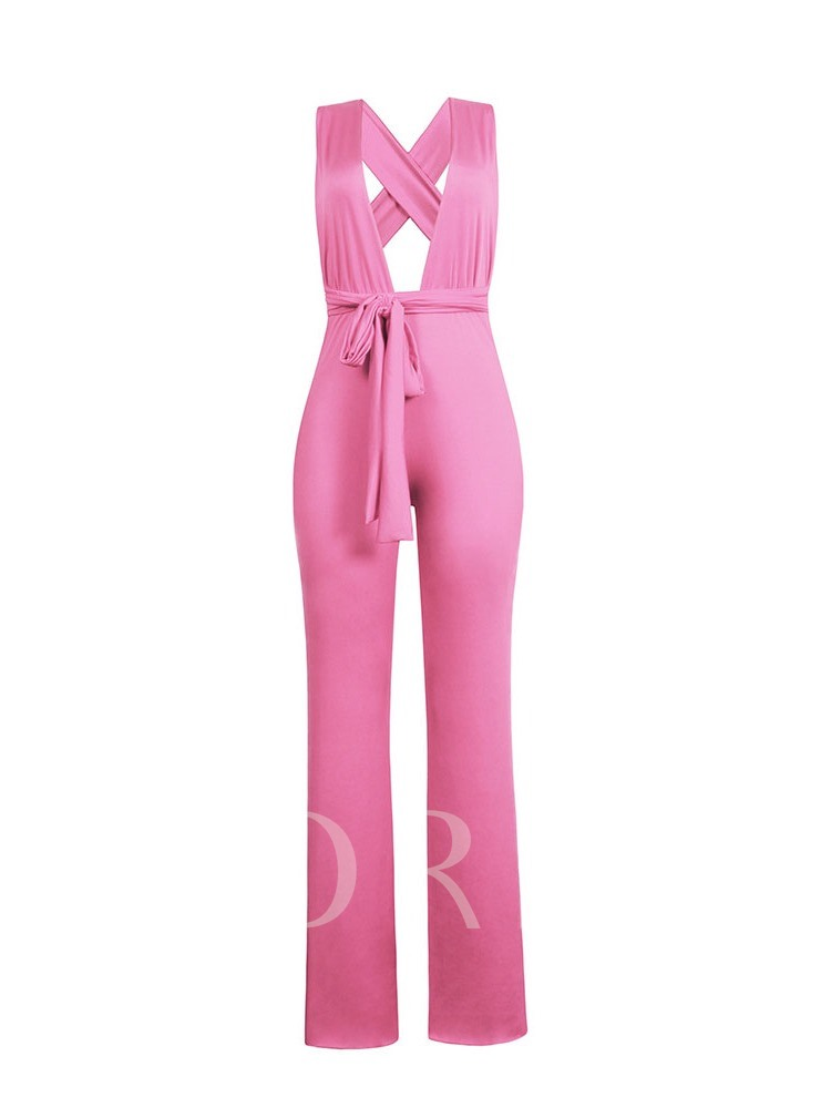 Full Length Backless Plain Sexy Loose Women's Jumpsuit