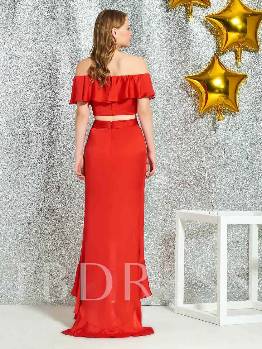 A-Line Asymmetry Short Sleeves Ruched Cocktail Dress 2019