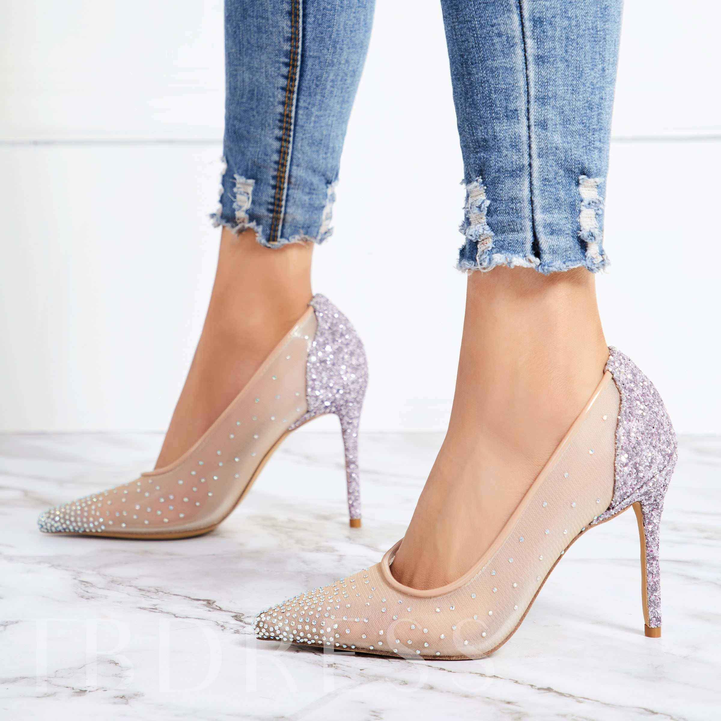 f462b262152f Mesh Stiletto Heel Pointed Toe Rhinestone Glitter Women s Prom Shoes. Sold  Out