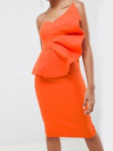 Sleeveless Falbala Plain Women's Bodycon Dress