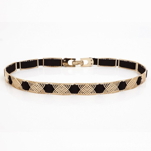 Luxury Elastic Waist Metal Chain Golden Belts