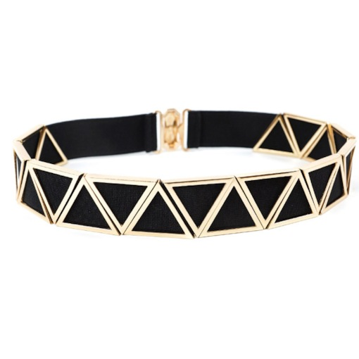 Wide Metal Interlock Buckle Women Elastic Waist Belt