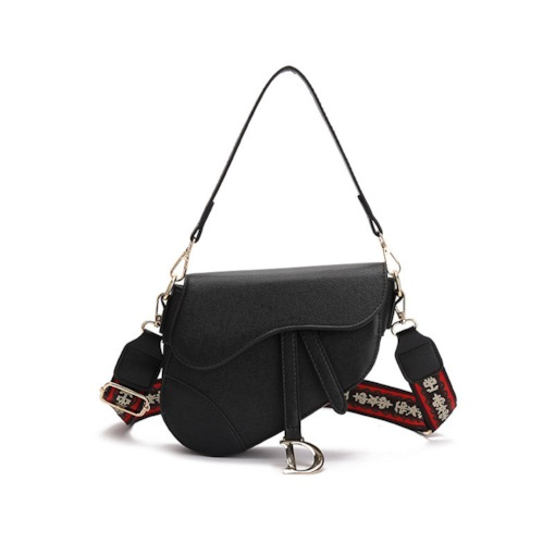 Belt-Decorated Plain PU Saddle Crossbody Bags
