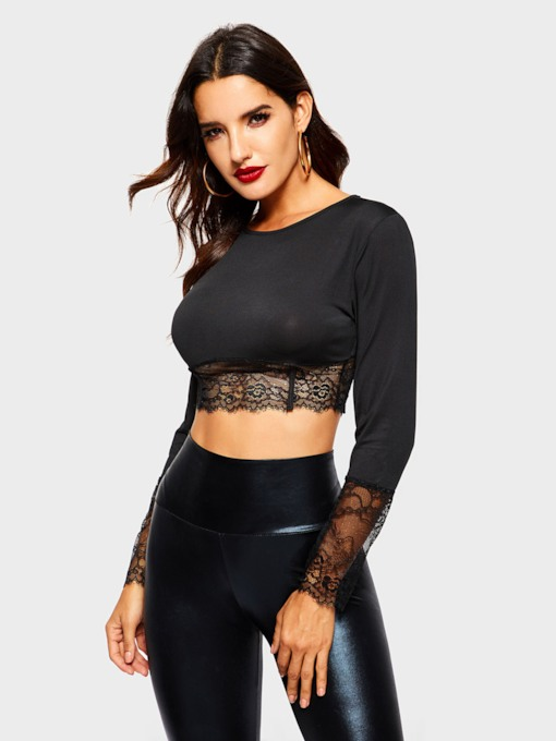 Lace See-Through Cropped Women's T-Shirt