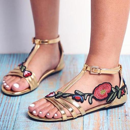 Flat Buckle Open Toe Floral Sandals