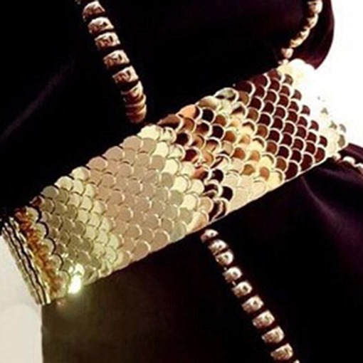 Wide Golden Sequins Decorative Metal Belts