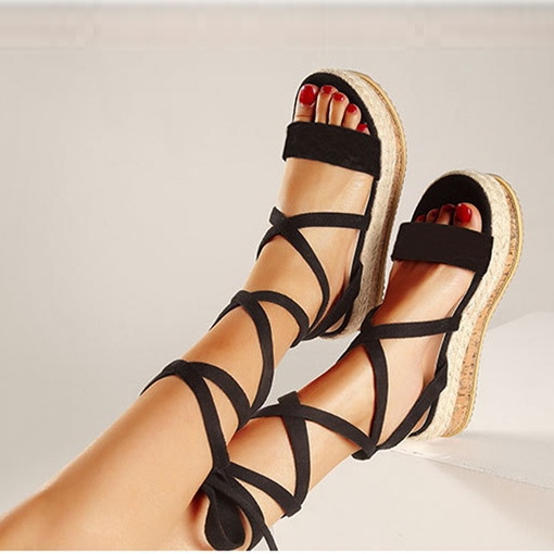 Wedge Heel Open Toe Lace-Up Sandals