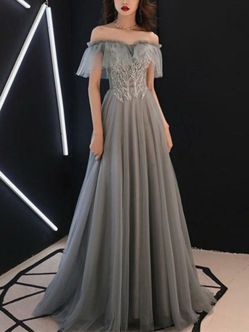 Off-The-Shoulder Floor-Length Short Sleeves A-Line Prom Dress 2019