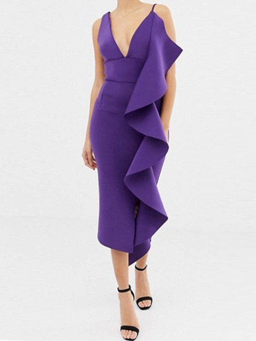 Asymmetric V-Neck Sleeveless Plain Women's Day Dress