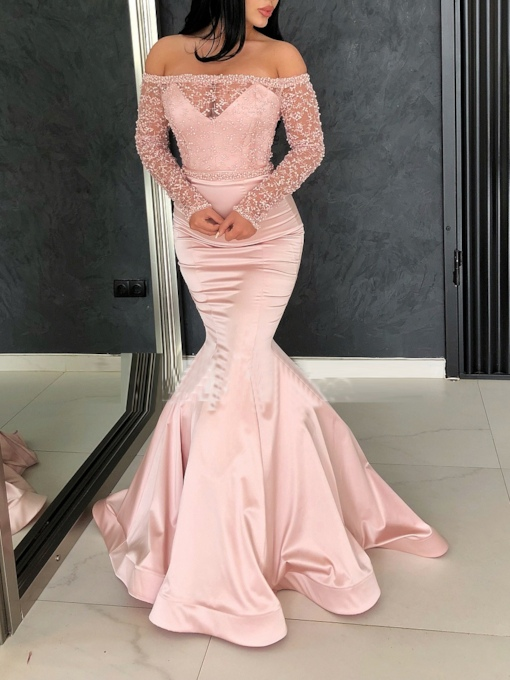 Long Sleeves Off-The-Shoulder Sweep Train Floor-Length Evening Dress 2019