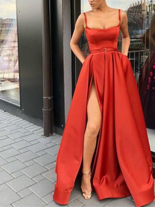 A-Line Spaghetti Straps Floor-Length Sweep Train Evening Dress 2019