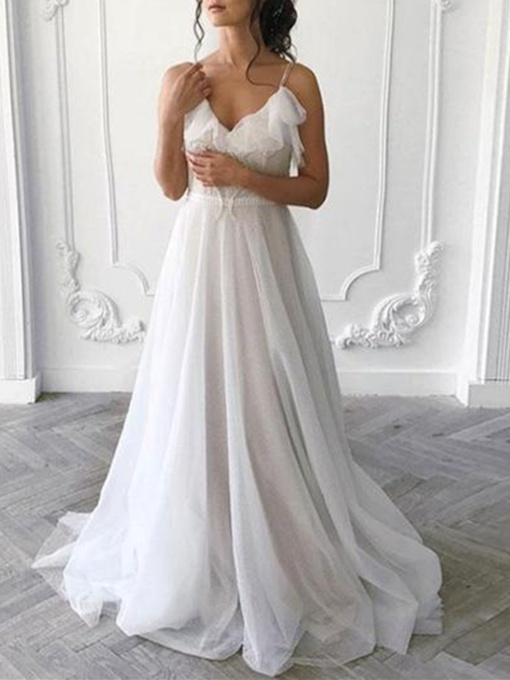 Spaghetti Straps Ruffles Appliques Wedding Dress 2019