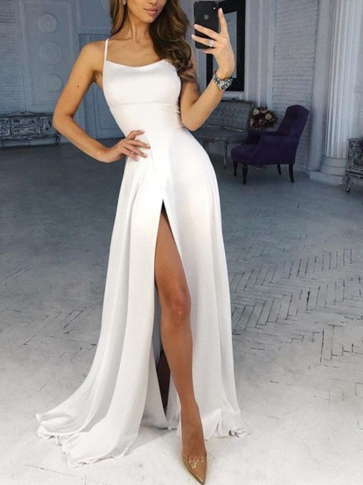 Halter Split-Front A-Line Sleeveless Ivory Prom Dress