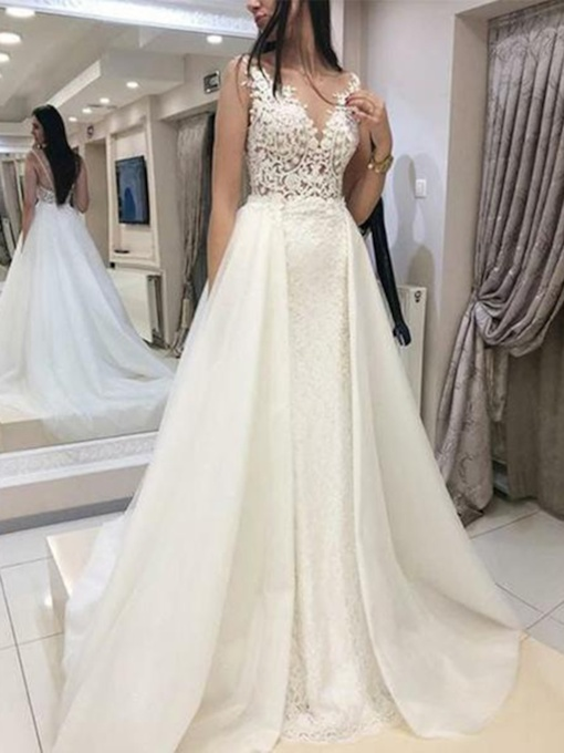 A-Line Lace Appliques Wedding Dress 2019