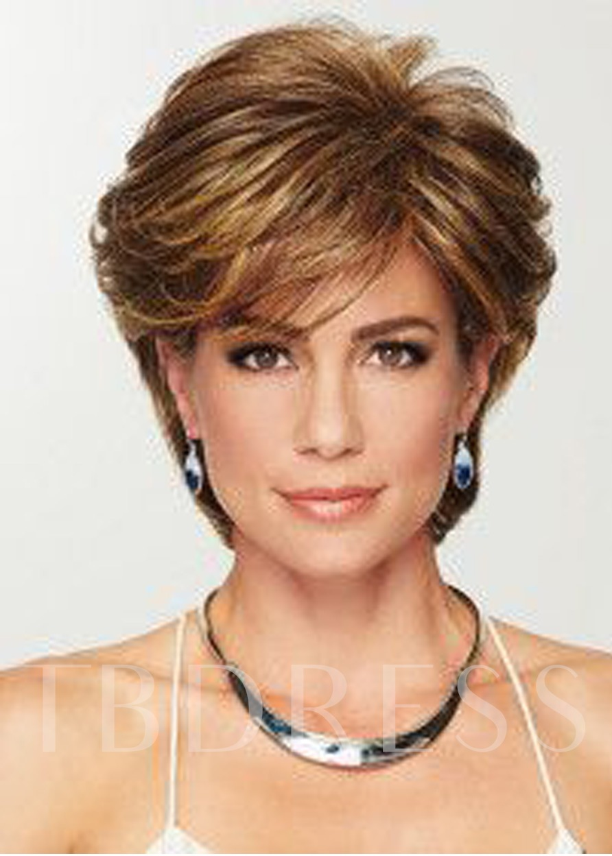 Short Blonde Color Curly Layered Synthetic Hair Lace Front Wigs 8 Inches
