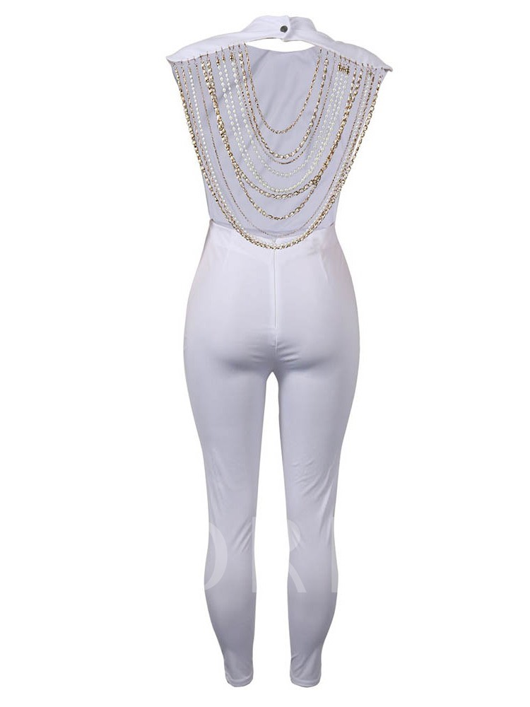 Chain Plain Full Length Party/Cocktail High-Waist Women's Jumpsuit