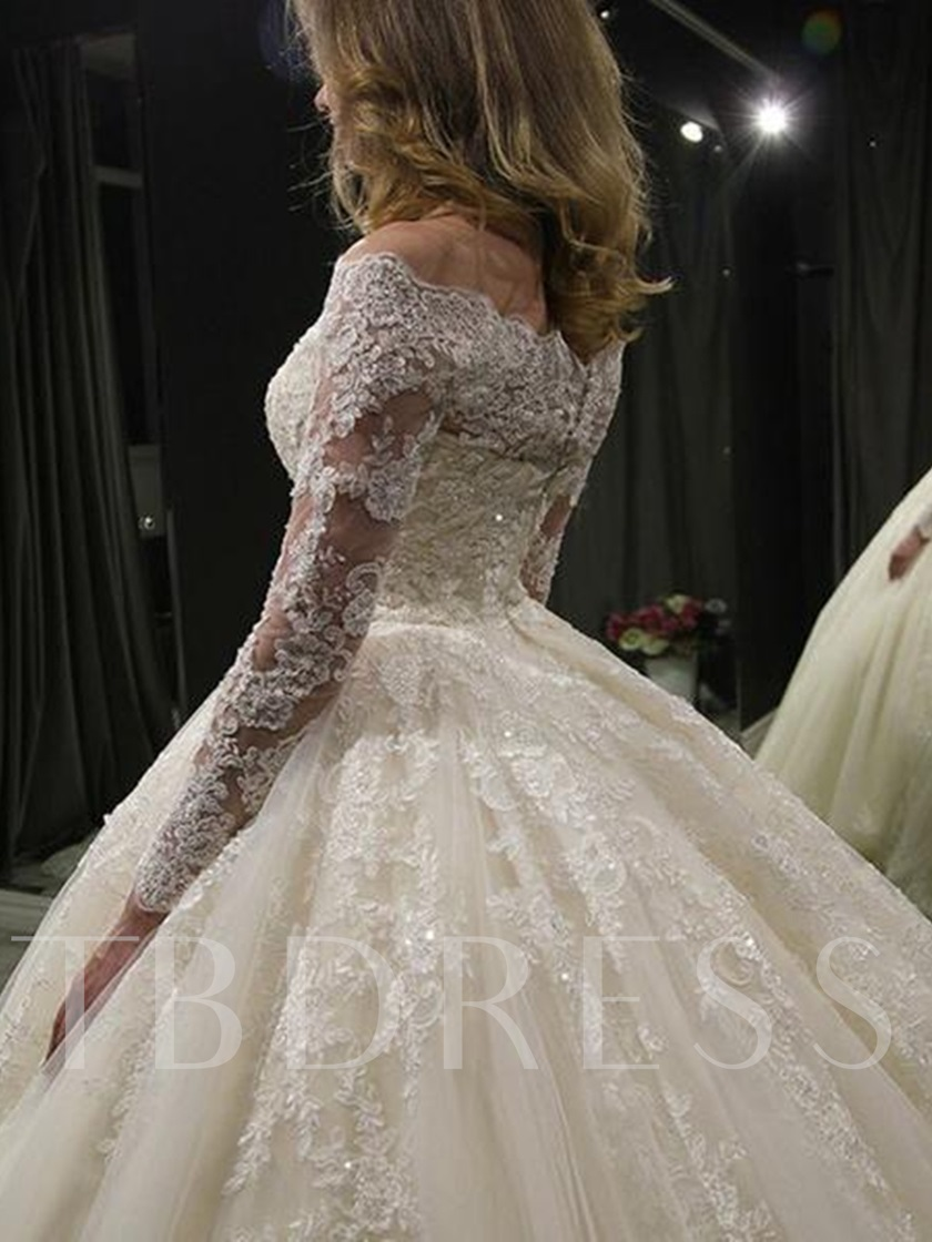 Off-The-Shoulder Long Sleeves Appliques Ball Gown Wedding Dress